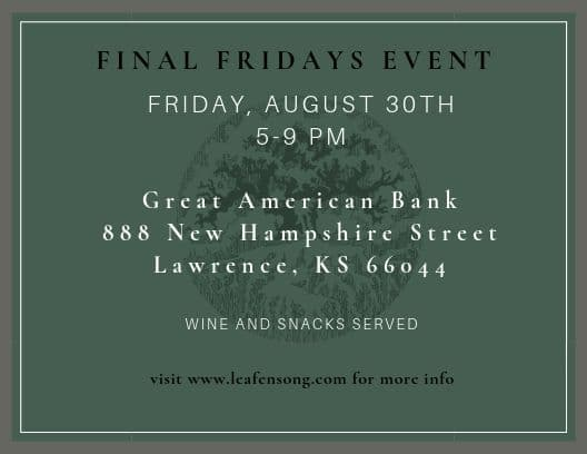 Final Fridays information for August 30th in Lawrence, KS